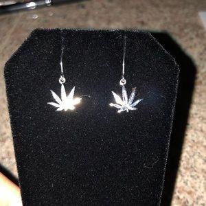 Earrings silver cannabis design